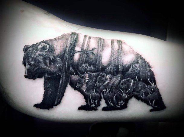 Forest Bear Tattoo For Women Hands