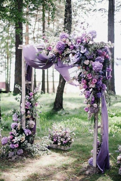 Forest Wedding Lavender Flowers Arch Art