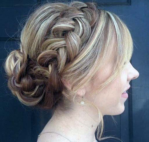 Formal Hairstyle Thick Braided Crown Into Braided Low Bun