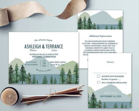 Forrest And Mountain Invitation Suite Inspiration Rustic Wedding Ideas