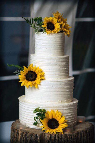 Four Layered White Wedding Cake Women Sunflowers