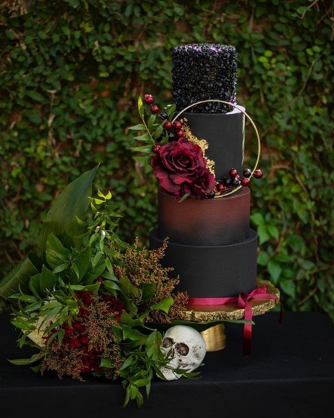 Four Tiered Halloween Wedding Cake