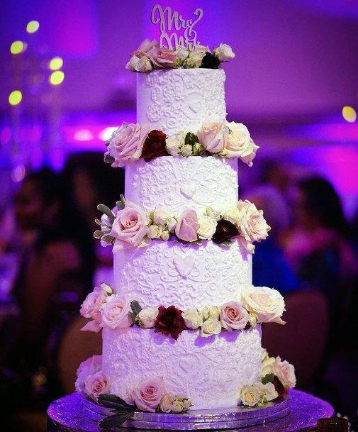 Four Tiered Red Velvet Wedding Cake