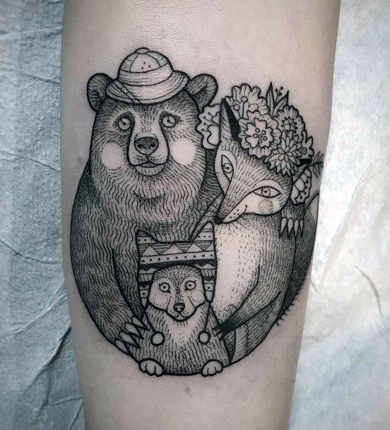 Fox And Bear Family Tattoo Women