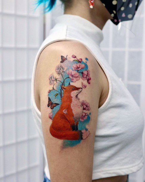 Fox And Cherry Blossom Tattoo For Women Arms