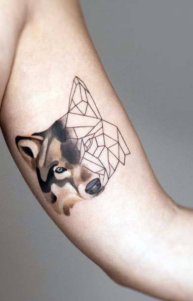 Fox Face Tattoo Geometric Womens Upper Arms