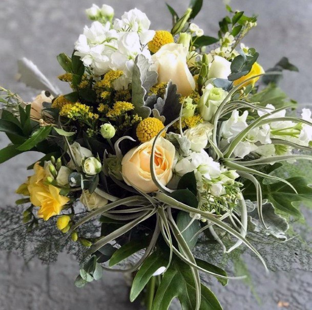 Fragrant White And Yellow Wedding Flowers