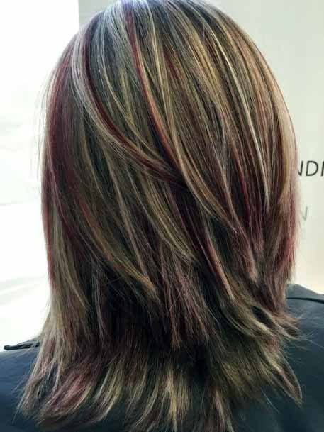 Free Flowing Cascading Brown Hair With Copper Highlights Women