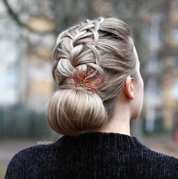 French Braided Chignon Bun Hairstyle Women