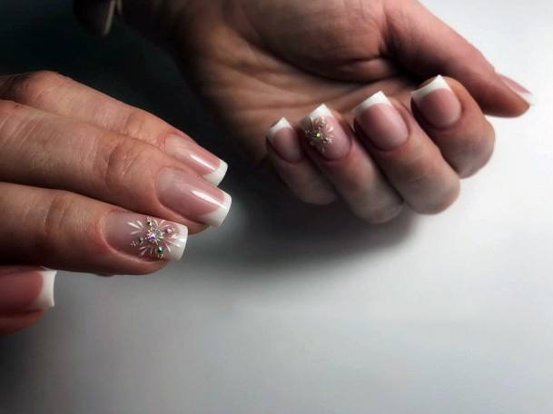 French Mani With Snow Flakes For Women