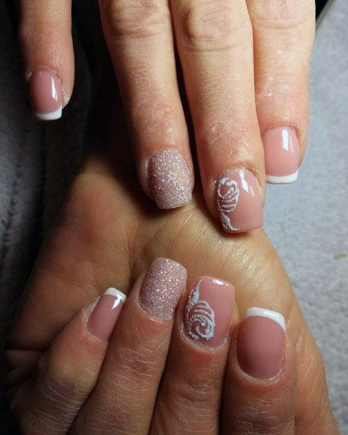 French Manicure Pink Sugar Nails For Women