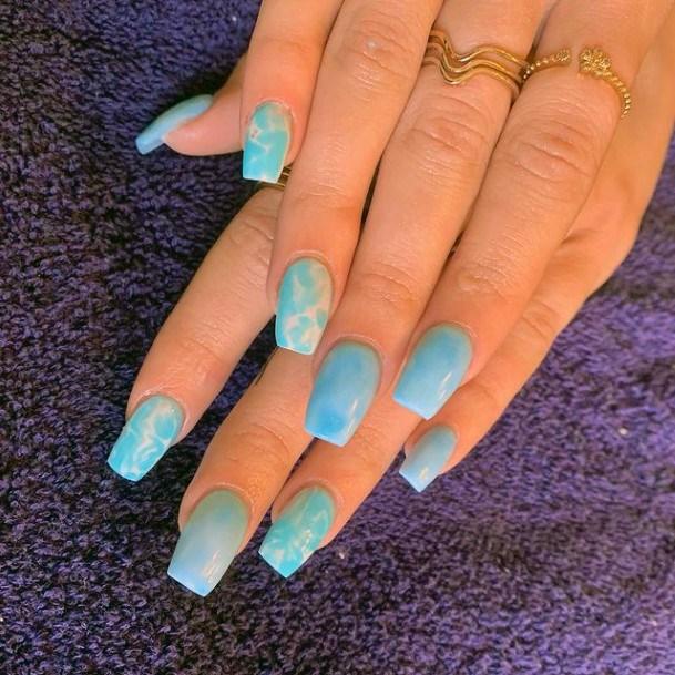 Fresh Blue Water Nails Women