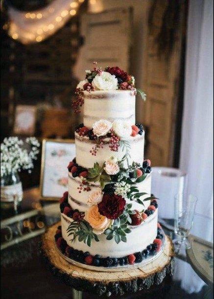 Fresh Fruit Semi Naked Rustic Wedding Cake Ideas