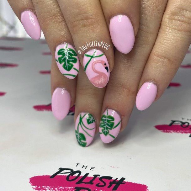Fresh Green Leaves And Flamingo Pink Nails Women