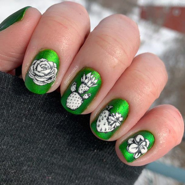 Fresh Green Nails Cactus And Flowers Women