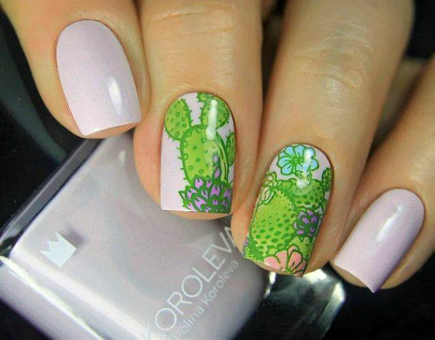 Fresh Lush Green Cactus Nails Women
