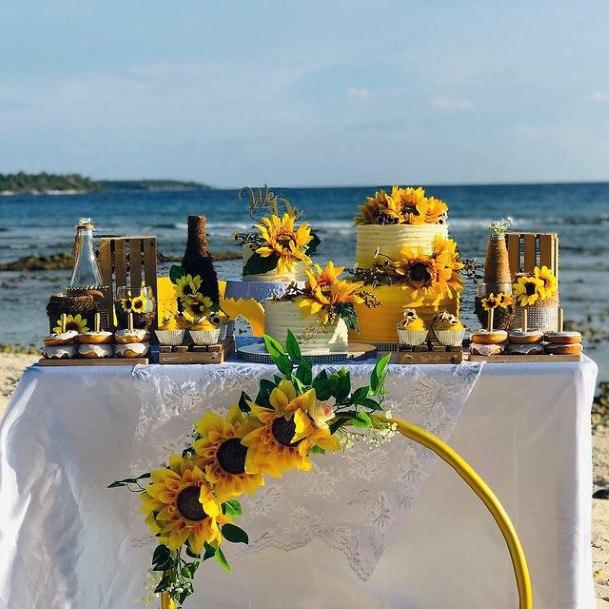 Fresh Sunflower Wedding Cakes Women