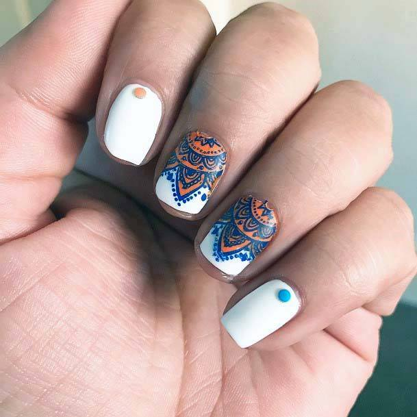 Fresh White Nails With Blue And Orange Tribal Art For Women