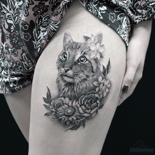 Friendly Cat With Flowers Womens Thighs