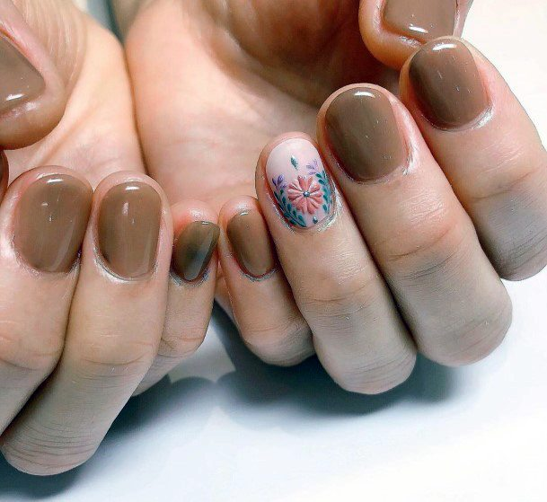 Frosted Chocolate Brown Nails With Flower Art Women