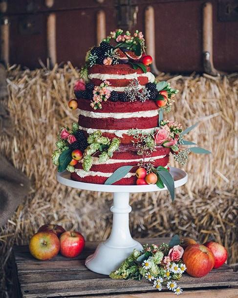 Fruity Abundance Red Velvet Wedding Cake