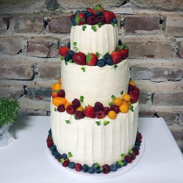 Fruity Borders Red Velvet Wedding Cake