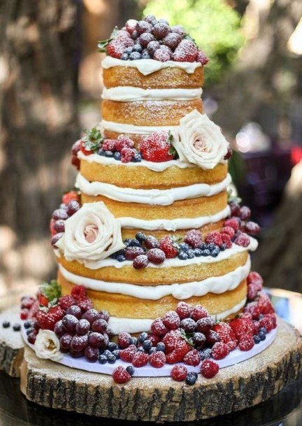 Fruity Country Wedding Cakes Naked