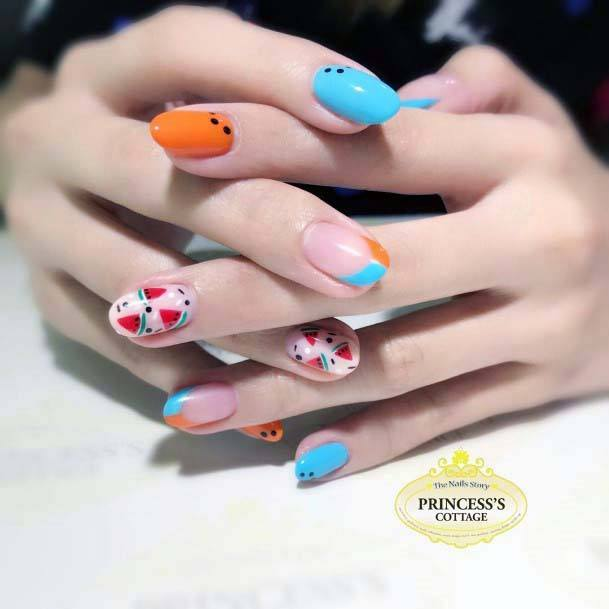 Fruity Summer Blue And Orange Nails For Women