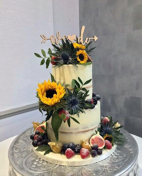 Fruity Wedding Cake Wome With Sunflower