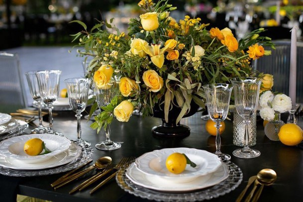 Fruity Yellow Themed Wedding Flowers And Table