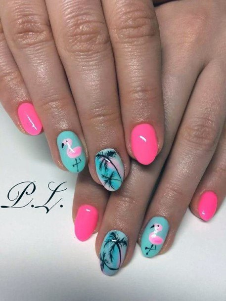 Fuchsia Pink And Blue Palm Tree And Flamingo Nails