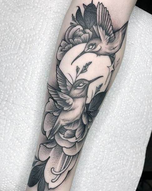 Full Moon And Hummingbirds Tattoo Womens Hands