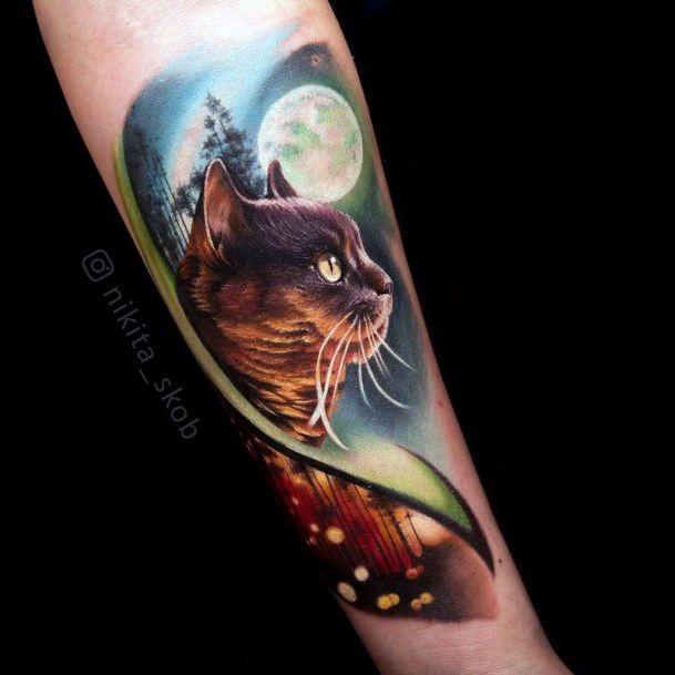 Full Moon Night And Brown Cat Tattoo For Women