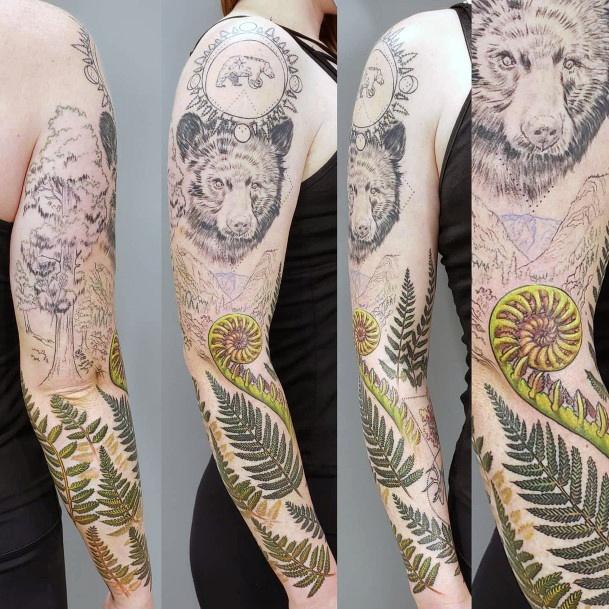 Full Sleeves Women Bear And Leaves Tattoo