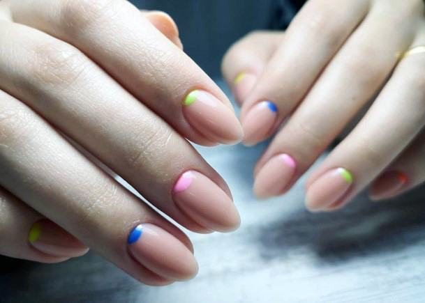 Funky Colored Cuticles Nude Shellac Nails For Women