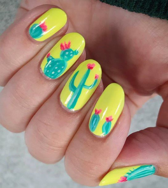Funky Yellow Bright Cactus Nails Women