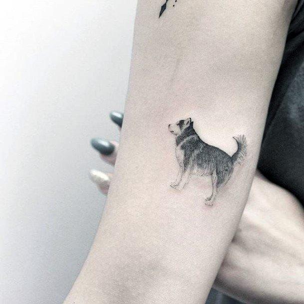 Furry Dog Tattoo Womens Hands