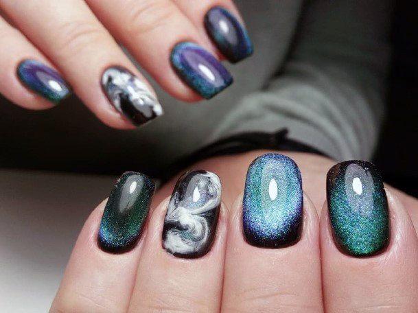 Galaxy Art Work On Nails Cat Eye Design