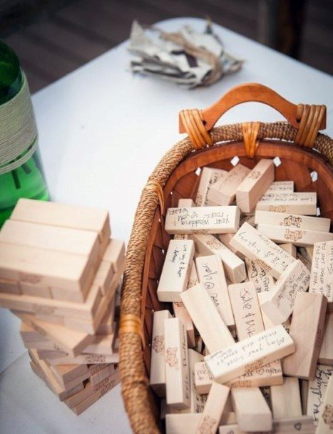 Game Pieces Jenga Wedding Guest Book Ideas