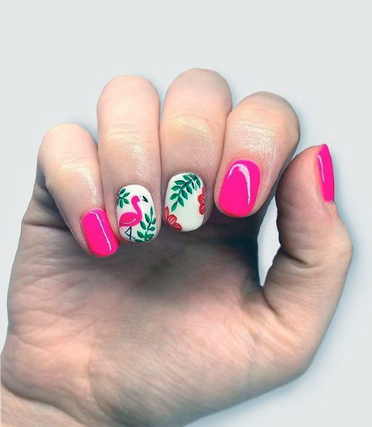 Garden Fresh Pink Flamingo Nails Women
