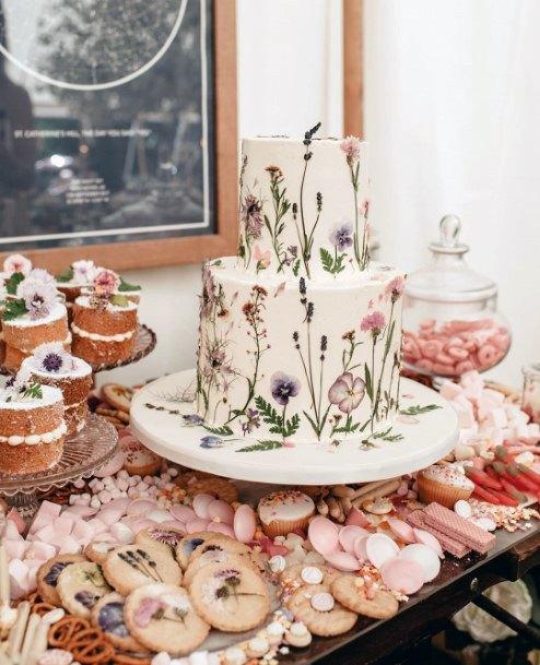 Garden Inspired Painted Flowers Wedding Cake Ideas