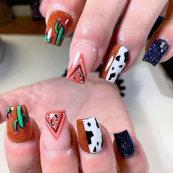 Geometric Cactus Nails For Women