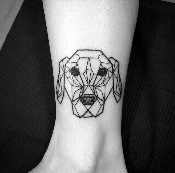 Geometric Design Tattoo For Women Ankles
