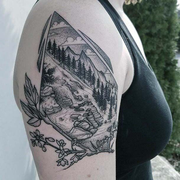 Geometric Diamond Shaped Scenery Tattoo Womens Upper Arms