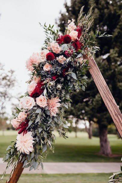 Geometric Display Rustic Wedding Flowers