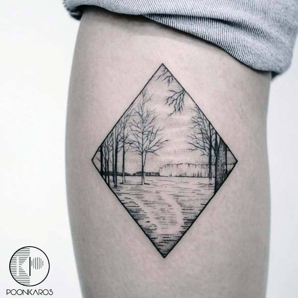 Geometric Framed Lakeside Scene Tattoo Womens Thighs
