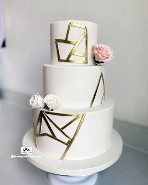 Geometric Golden Line Design On 3 Tier Womens White Wedding Cake