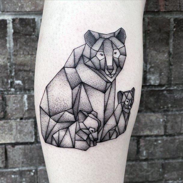 Geometric Grey Shaded Bear Tattoo For Women