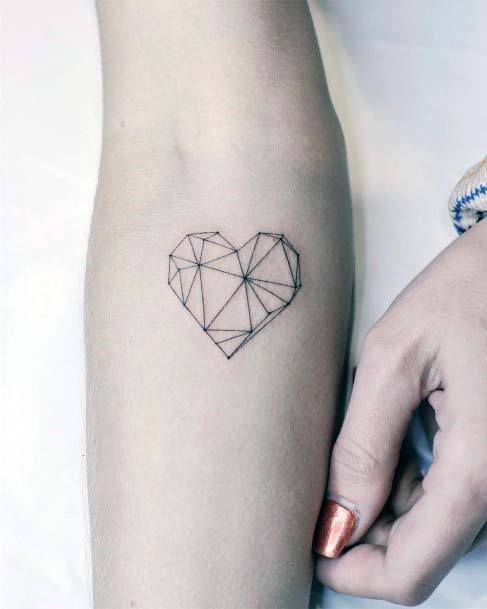Geometric Heart Tattoo Women Hands