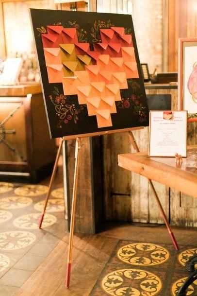 Geometric Heart Wedding Guest Book Ideas